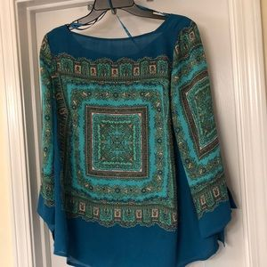 Multi patterned blue and green top